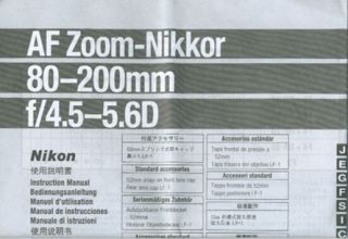 Nikon AF Zoom Nikkor 80 200mm F4.5 5.6D Lens Instruction Manual