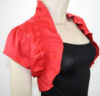 Damen Baumwolle Bolero Jäckchen Jacke Blazer 36 38 40 42 S M L XL Rot