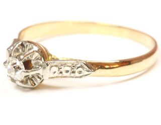 14kt 585 antiker Damen Gold Ring Diamant Diamantring Goldring