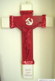 Kreuz ♥ EDELKITSCH No. 4 ♥ Kruzifix, rot, weiß, Glaube, Liebe