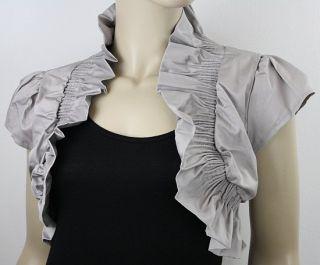 Damen Baumwolle Bolero Jäckchen Jacke Blazer36 38 40 S M L XL Grau