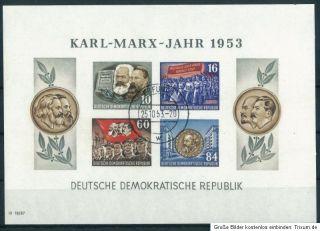 DDR 1953   BLOCK KARL MARX JAHR MI NR 9B UNGEZÄHNT   GESTEMPELT