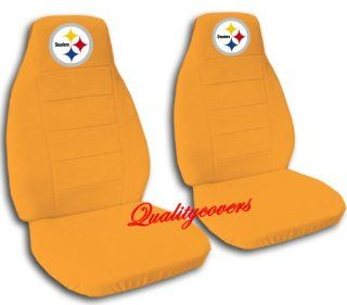 Orange Pittsburgh seat covers for a 2007 to 2012 Chevrolet Silverado