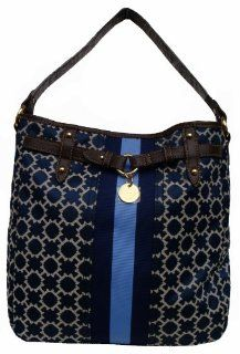 Hilfiger Bucket Tote Handbag (Navy/White/Light Blue/Brown) Shoes
