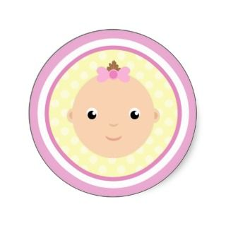 Sweet Baby Girl Face Pink Stickers