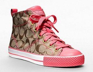 Coach Franca High Top Fashion Sneaker (Khaki/Pink, 9.5) Shoes