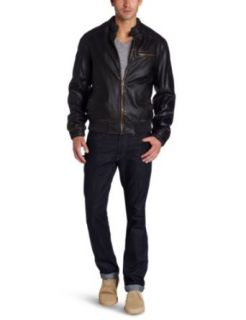 Levis Mens Faux Leather Bomber Jacket Clothing