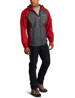 Columbia Mens Tall Straight Line Rain Jacket, Grill/Red