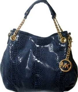 Michael Kors Jet Set Indigo Blue Gold Chain Genuine