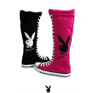 Womens Knee High Canvas Sneakers Lace Up Playboy Bunny Boots Black , 5