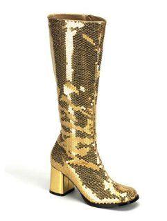 Disco Costume Gold Metallic Sequin Boot   11 Shoes
