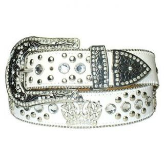 New White Rhinestone Studded Crown Leather Belt M 34 36