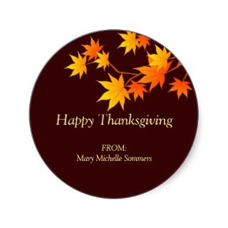 Fall Colors Thanksgiving Label Sticker