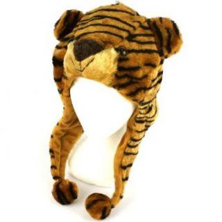 Faux Fake Fur Animal Plush Brown Tiger Trooper Trapper