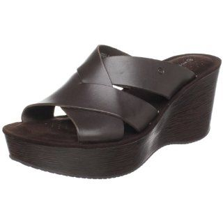 Rockport Womens Keira Cross Slide Sandal,Dark Brown,8.5 M US Shoes