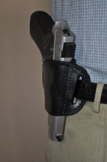 Black Leather Belt slide Gun Holster for Ruger P85, P90