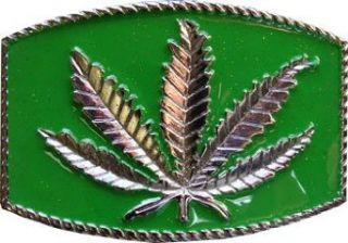 MARIJUANA LEAF Belt Buckle  Green Background Clothing