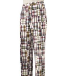 Madras Pants in Pleated front (CREAM/RED, 48 32 INSEAM