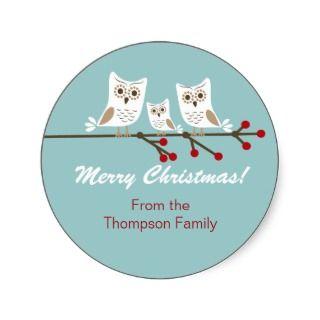 Christmas Owls Sticker