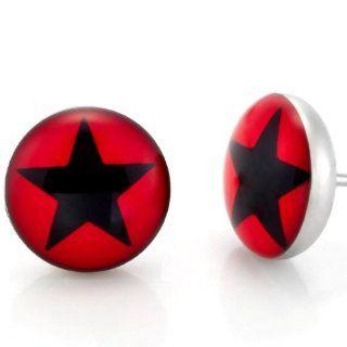 Stainless Steel Mens Star Stud Earrings Black & Red