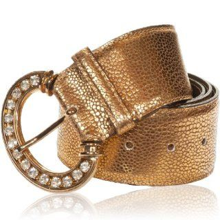 Italian Designer Metallic Gold Leather Swarovski Medium Belt Shoes
