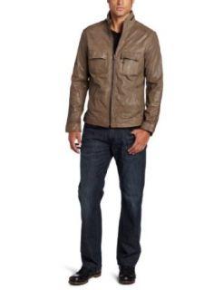 Kenneth Cole Mens Leather Moto Jacket Clothing