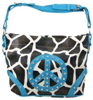 Giraffe Print Peace Sign Shoulder Bag Turquoise Trim