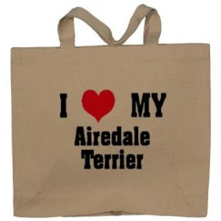I Love/Heart Airedale Terrier Totebag (Cotton Tote / Bag