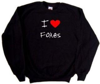 I Love Heart Foxes Black Sweatshirt Clothing