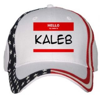 HELLO my name is KALEB USA Flag Hat / Baseball Cap