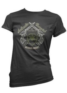 Authentic Cowgirl Womens T shirt, Pistols and Badge Ladies