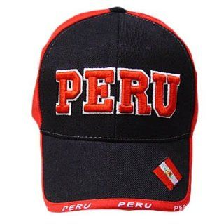 PERU BLACK RED ACRYLIC BASEBALL CAP HAT EMBROIDERED ADJ