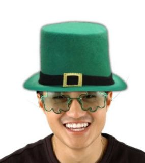 St. Patricks Day Irish Velvet Top Hat With Gold Buckle