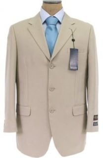 Bolzano Mens SB 3 Button Solid Light Beige Tan Suit   Size