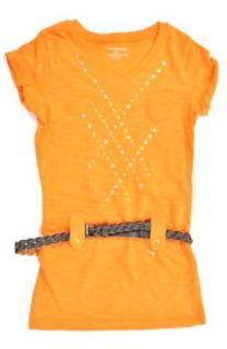 One Step Up Big Girls Short Sleeve Belted Shirt (7/8