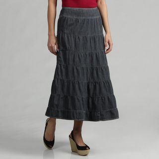 Live a Little Womens Salior Denim Tiered Skirt