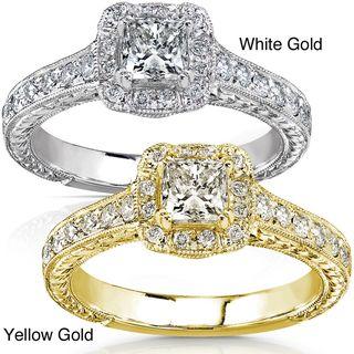 14k Gold 3/4ct TDW Diamond Princess Cut Halo Engagement Ring
