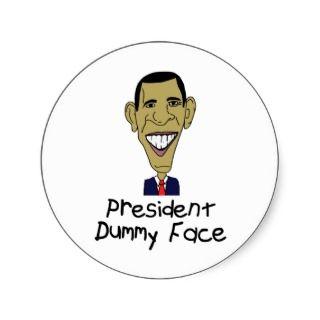 Obama President Dummy Face Cartoon Kids Round Stickers