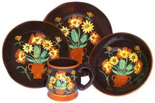 English Sunflower Hand painted 16 piece Dinnerware Set