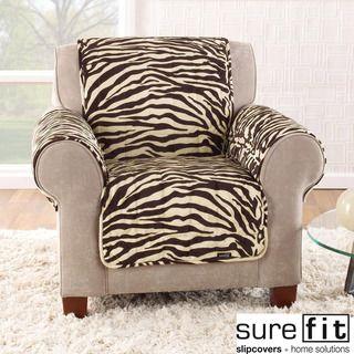 Velvet Zebra Brown Chair Cover