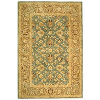 Handmade Legacy Blue/ Brown Wool Rug (9 x 12)