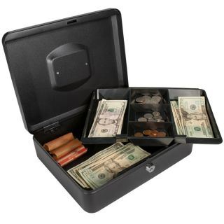 12 nch Black Cash Box with Key Lock