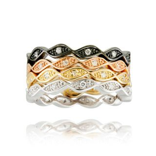 Icz Stonez Multi color Plating Cubic Zirconia Stackable Eternity Rings