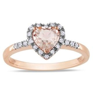 Miadora 10k Pink Gold Morganite and 1/10ct TDW Diamond Heart Ring (G H