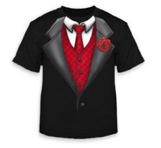 Formal Tuxedo T Shirt With Red Tie And Rose (Black) #3/#14