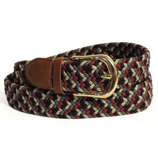 Mens Red/ Multi color Stretch Nylon and Leather Belt