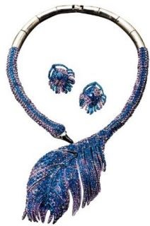 Prom Formal Crystal Peacock Feather Necklace Set, Color