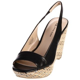 AK Anne Klein Womens Fortuna Black Leather Wedge Sandals