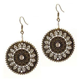 Pretty Little Style Bronze Plated Crystal Flower Earrings
