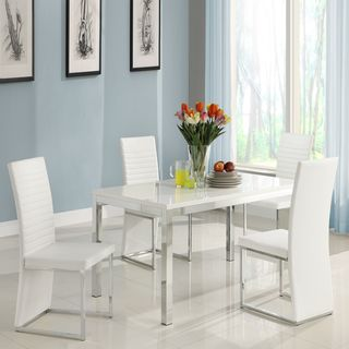 ETHAN HOME Reynold White Metal Sleek Modern 5 piece Dining Set